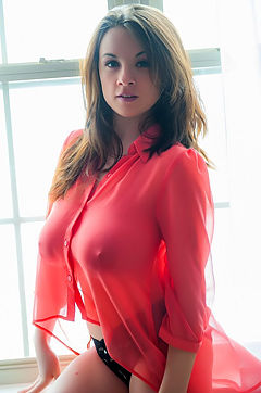 Busty Emily Nothing But A Sheer Red Top