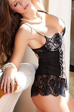 Emily Addison Sexy Black Lingerie