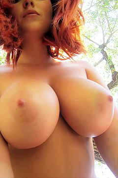 Lucy V Garden Boobs Selfies
