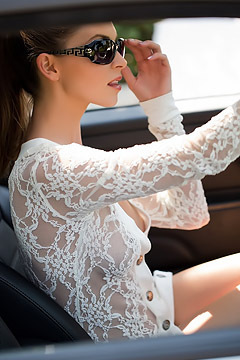 Amber Sym Nude Photos With Her Car