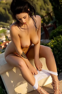 Busty Poses Outside