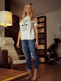 Tight blue jeans, white T-shirt, long blonde hair, blue eyes and big, round breasts - Caroline Abel 01
