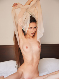 Stunning Russian Brunette Leona Mia Reclines On Her Bed In A Sheer Negligee 07